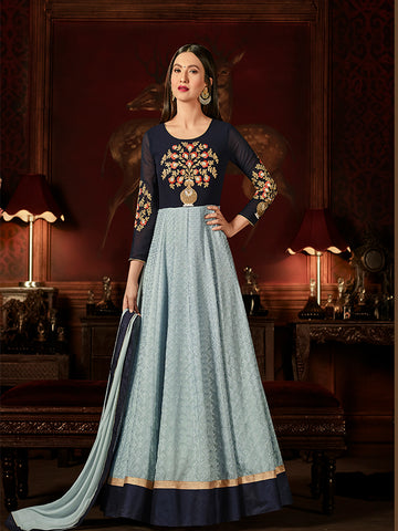 Designer Steel Blue & Navy Blue Jari & Resham Embroidery With Stone Work Georgette Anarkali Suit