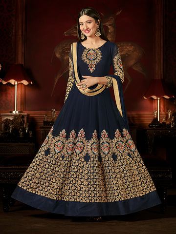 Designer Navy Blue Jari & Resham Embroidery With Stone Work Georgette Anarkali Suit