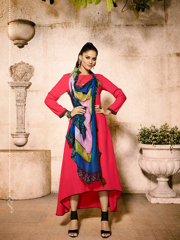 Designer Dark Pink Color Rayon Kurti with Cotton Scarf