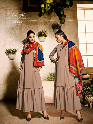 Designer Beige Color Rayon Kurti with Cotton Scarf