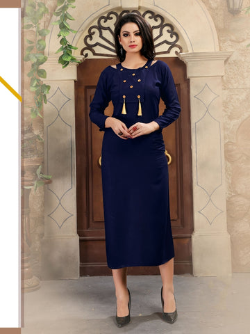 Designer Navy Blue Color Printed Rayon Kurti