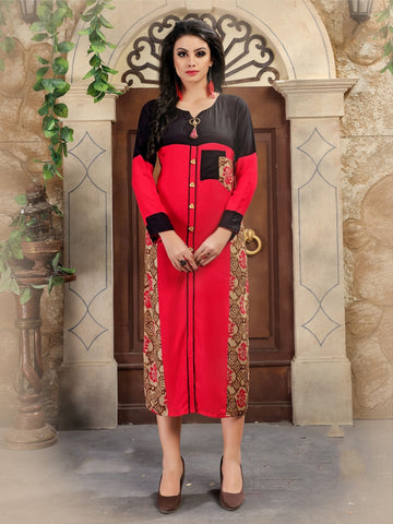Designer Red Color Printed Rayon Kurti