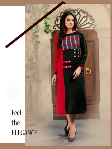 Designer Black Color Printed Rayon Kurti
