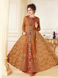 Designer Light Brown Color Printed Cotton Blended Gown