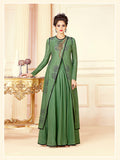Designer Green Color Printed Cotton Blend Embroidered Gown