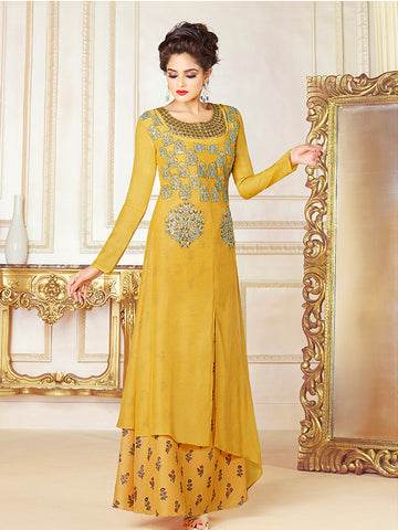 Designer Yellow Color Printed Cotton Blend Embroidered Gown