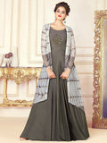 Designer Grey Color Printed Cotton Blend Printed Gown with Jacket