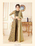 Designer Brown & Cream Color Printed Art Silk Gown with Jacket