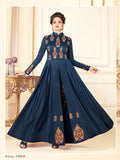 Designer Dark Blue Color Printed Art Silk Printed Gown