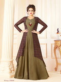 Designer Olive Green & Multi Color Printed Cotton Blended Gown with Jacket