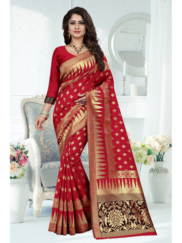 Red Color Banarasi Art Silk Saree