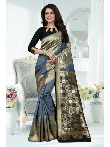 Grey Color Banarasi Art Silk Saree