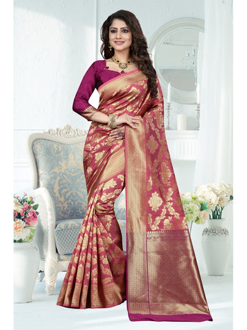 Dusty Pink Color Banarasi Art Silk Saree