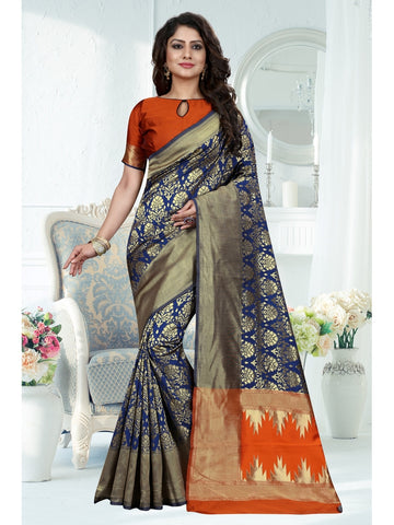 Blue Color Banarasi Art Silk Saree