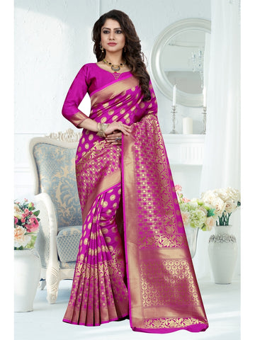 Rani Pink Color Banarasi Art Silk Saree
