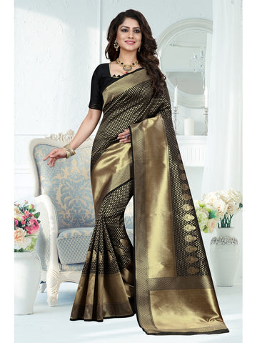 Black and Gold Color Banarasi Art Silk Saree