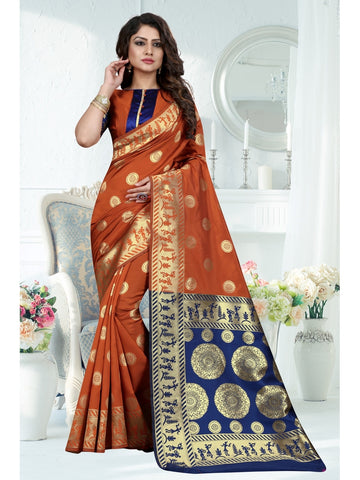 Rust Orange Color Banarasi Art Silk Saree