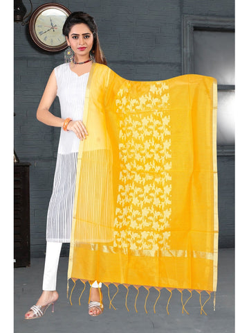Designer Yellow Color Banarasi Art Silk Dupatta