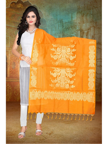 Designer Mustard Yellow Color Banarasi Art Silk Dupatta