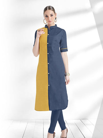 Designer Steel Blue and Yellow Color with Embellishment Work Cotton Slub Straight Cut Kurti