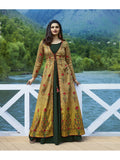 Designer Printed Dark Green & Yellow Color Double Layered Kurti Cum Gown