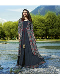 Designer Printed Grey Color Jacket Style Kurti Cum Gown