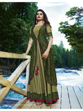 Designer Printed Green Color Double Layered Kurti Cum Gown