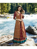 Designer Printed Maroon & Orange Color Double Layered Kurti Cum Gown
