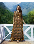 Designer Printed Light Brown Color Double Layered Kurti Cum Gown