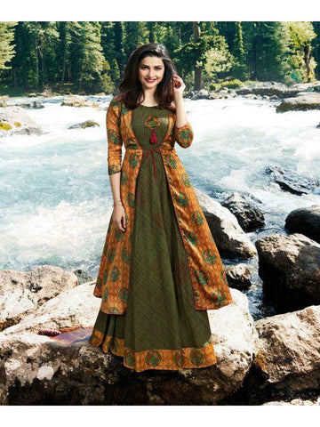 Designer Printed Dark Green & Mustard Yellow Color Double Layered Kurti Cum Gown