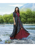 Designer Printed Maroon & Blue Color Double Layered Kurti Cum Gown
