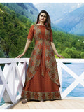 Designer Printed Rust Orange & Grey Color Double Layered Kurti Cum Gown