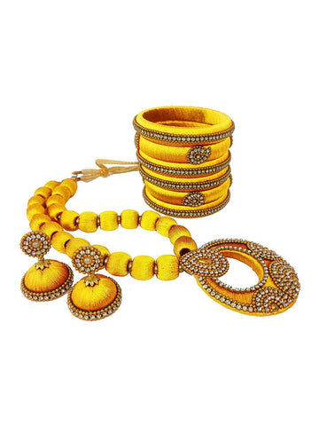 Set of Beautiful Yellow Color Necklace Set With A Pair Of Earrings &  Bangles