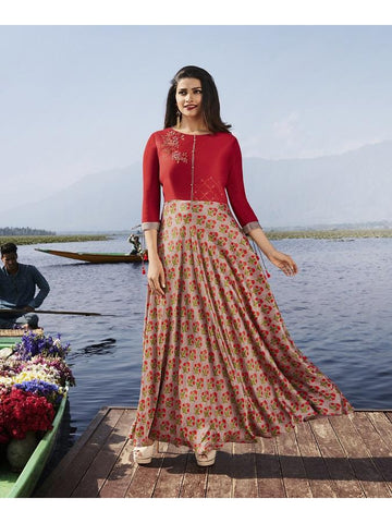 Designer Red and Mauve Color Printed With Resham & Jari Embroidery Work Anarkali Kurti