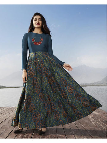 Designer Prussian Blue Color Printed With Resham & Jari Embroidery Work Anarkali Kurti