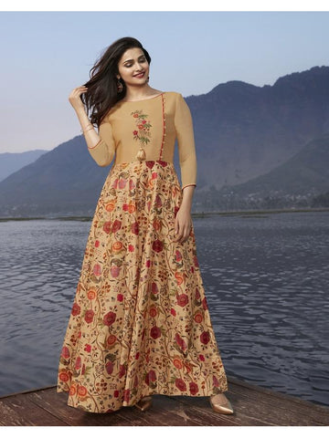 Designer Beige Color Printed With Resham & Jari Embroidery Work Anarkali Kurti