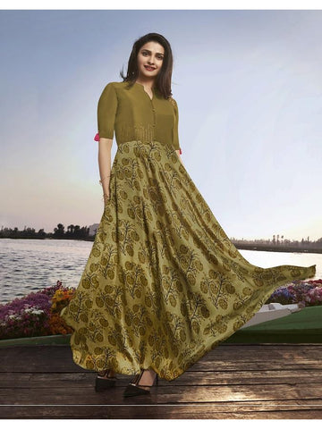Designer Olive Green Color Printed With Resham & Jari Embroidery Work Anarkali Kurti
