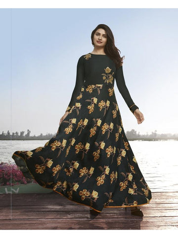 Designer Dark Grey Color Printed With Resham & Jari Embroidery Work Anarkali Kurti