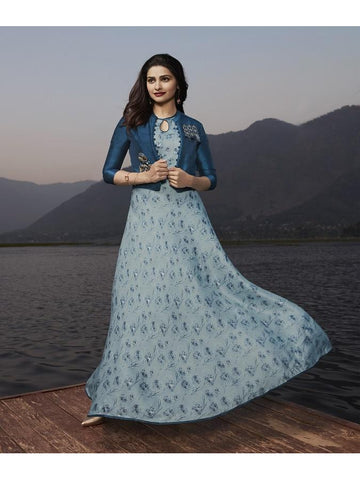 Designer Sky Blue and Blue Color Printed With Resham & Jari Embroidery Work Anarkali Kurti with Jacket