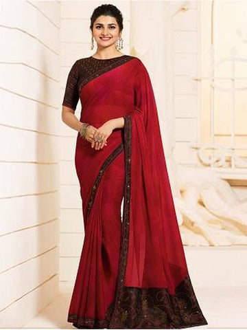 Royal Maroon Color Georgette Saree with Stone Work on Blouse and Lace Border