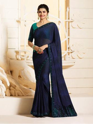 Royal Navy Blue Color Georgette Saree with Stone Work on Blouse and Lace Border