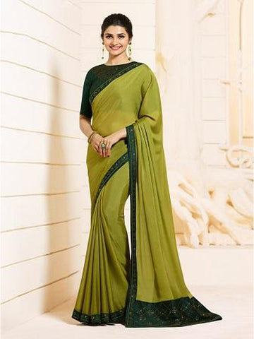 Royal Pear Green Color Georgette Saree with Stone Work on Blouse and Lace Border