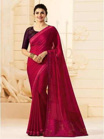 Royal Rani Pink Color Georgette Saree with Stone Work on Blouse and Lace Border