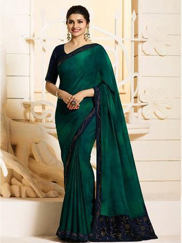 Royal Peacock Green Color Georgette Saree with Stone Work on Blouse and Lace Border