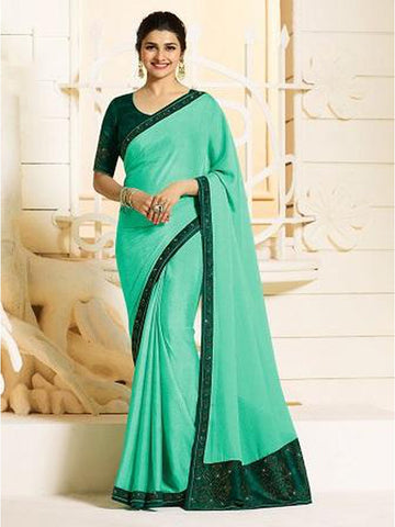 Royal Sea Green Color Georgette Saree with Stone Work on Blouse and Lace Border