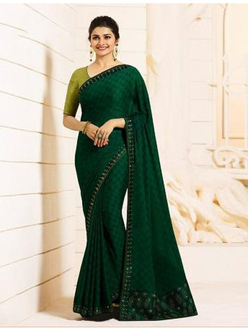 Royal Dark Green Color Georgette Saree with Stone Work on Blouse and Lace Border