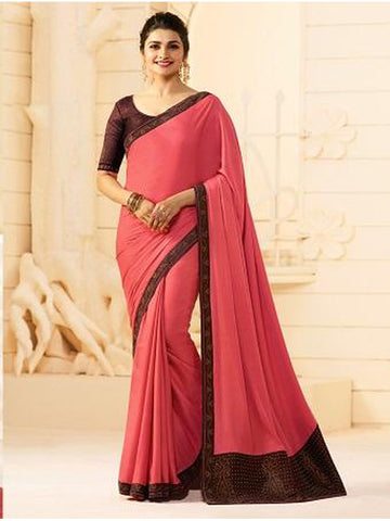 Royal Pink Color Georgette Saree with Stone Work on Blouse and Lace Border