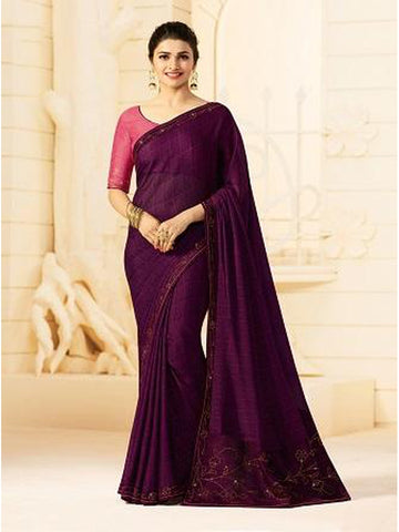 Royal Purple Color Georgette Saree with Stone Work on Blouse and Lace Border