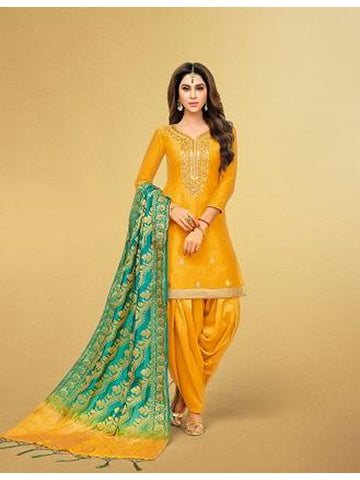 Punjabi Designer Musturd Yellow Color Patiala Suit