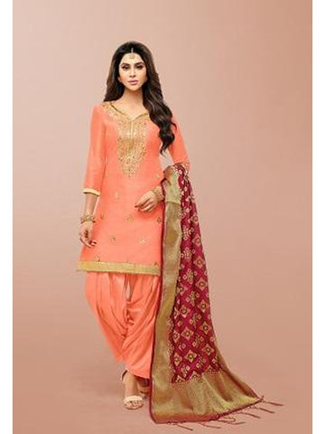 Punjabi Designer Peach Color Patiala Suit